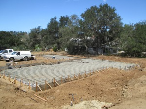 Framing and pouring of concrete foundation for the beautiful single story home in Fallbrook, CA