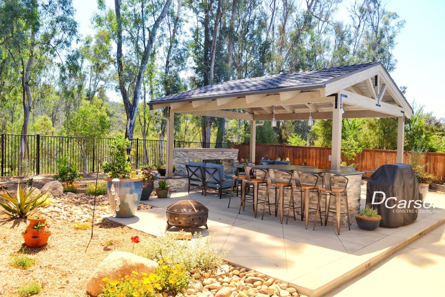 San Diego outdoor living space remodeling backyard in Scripps Ranch. Outdoor patio , outdoor fire place,
